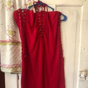 Fashion nova red corset dress size 18